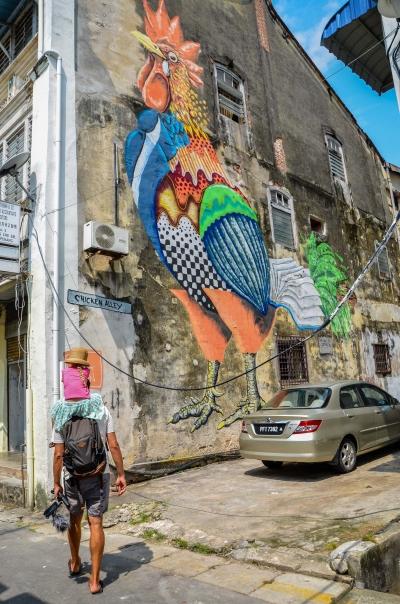 W stolicy Penangu nie da się nie zauważyć ulicznej sztuki. George Town, Malezja.